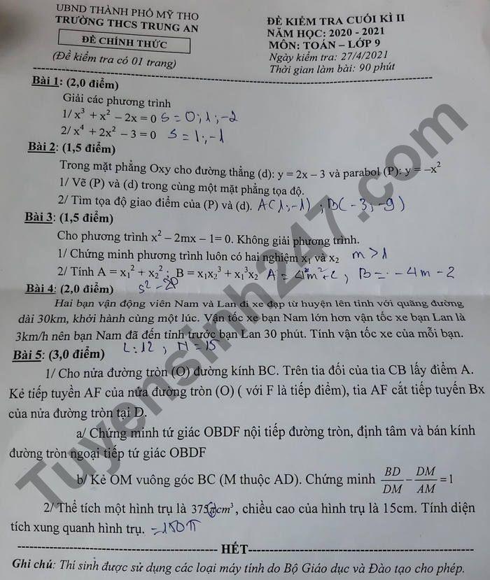 De thi hoc ki 2 mon Toan lop 9 - THCS Trung An 2021