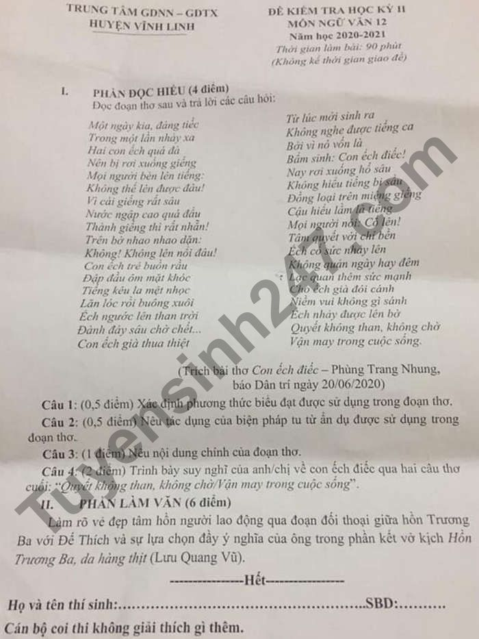 De thi hoc ki 2 lop 12 mon Van 2021 - TT GDNN-GDTX huyen Vinh Linh