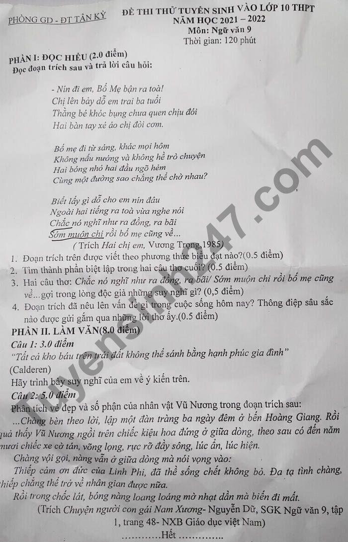 De thi thu vao lop 10 mon Van nam 2021 - Phong GD Tan Ky