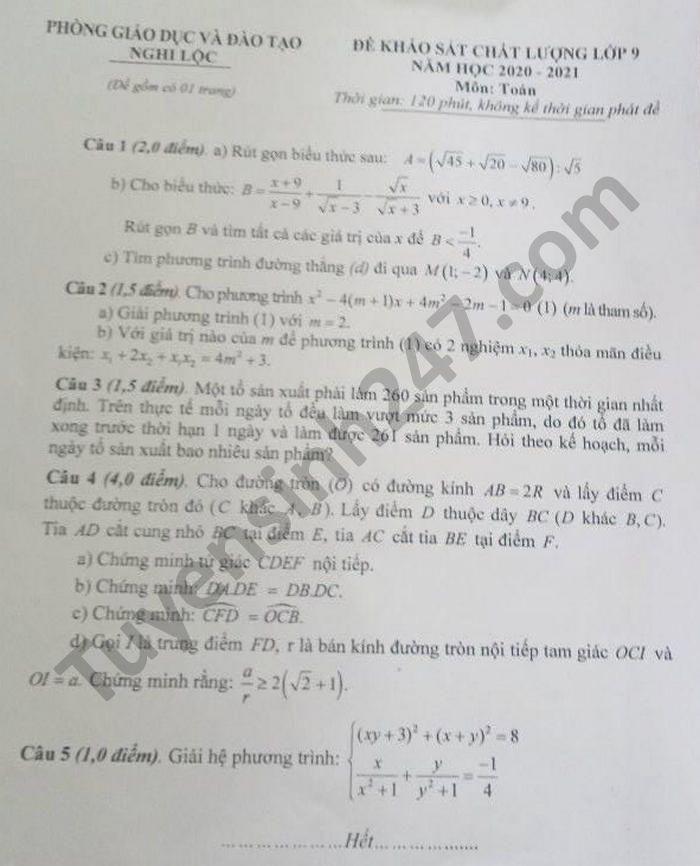 De khao sat chat luong lop 9 mon Toan - Phong GD Nghi Loc 2021