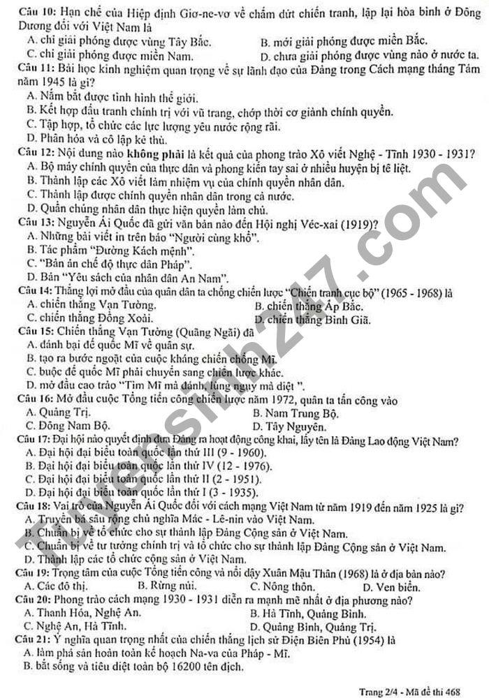 De thi hoc ki 2 lop 9 mon Su - Quan Thanh Xuan 2021