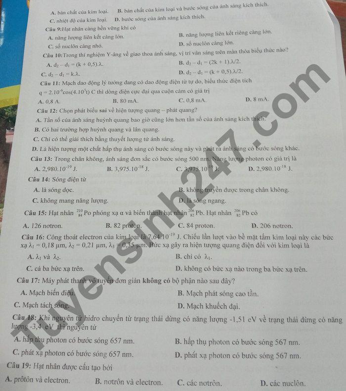 De thi hoc ki 2 mon Ly lop 12 nam 2021 - THPT Dien Chau 3