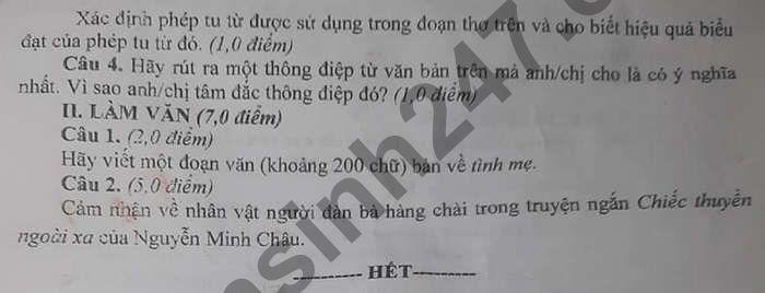 De thi cuoi ki 2 nam 2021 Van lop 12 - THPT Thu Khoa Huan