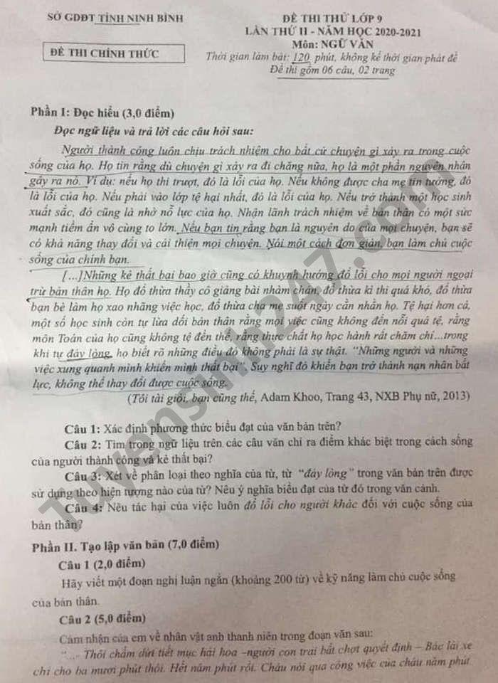 De thi thu lop 10 mon Van tinh Ninh Binh nam 2021 lan 2