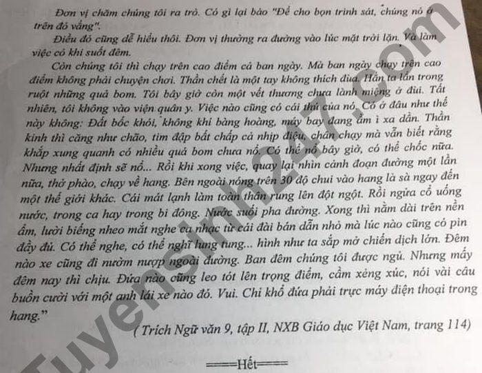 De thi thu vao lop 10 mon Van - Huyen Vinh Bao 2021