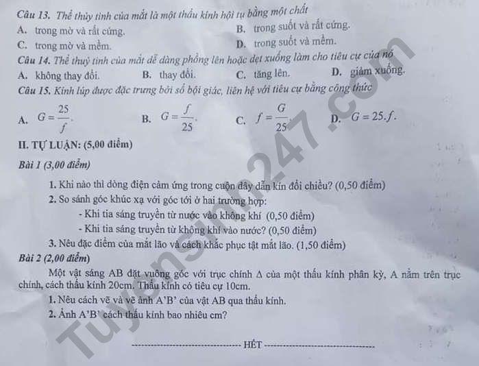 De thi ki 2 lop 9 mon Ly nam 2021 - So GD Quang Nam