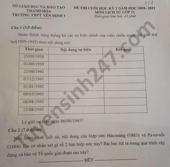 De thi hoc ki 2 THPT Yen Dinh 1 mon Su lop 11 nam 2021