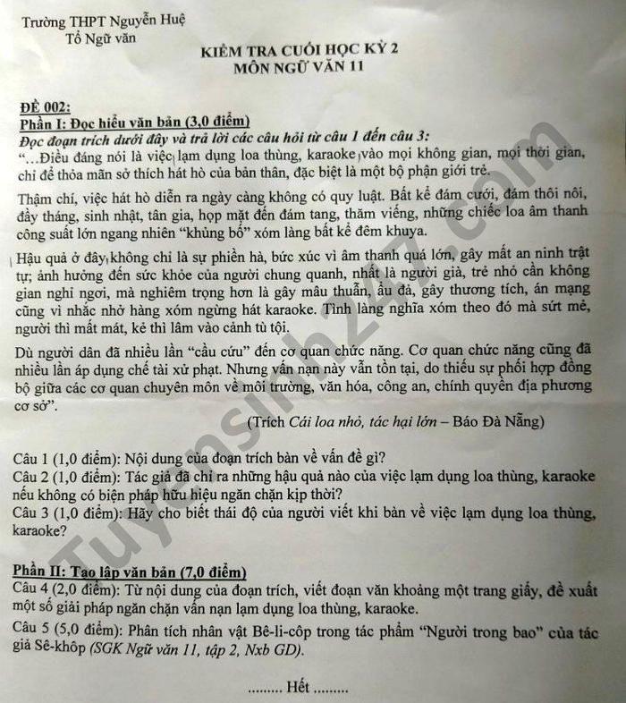 De thi hoc ki 2 lop 11 mon Van nam 2021 THPT Nguyen Hue