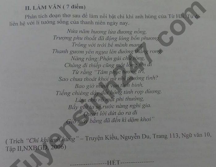 De thi hoc ki 2 lop 10 mon Van - THPT Hoang Van Thu 2021