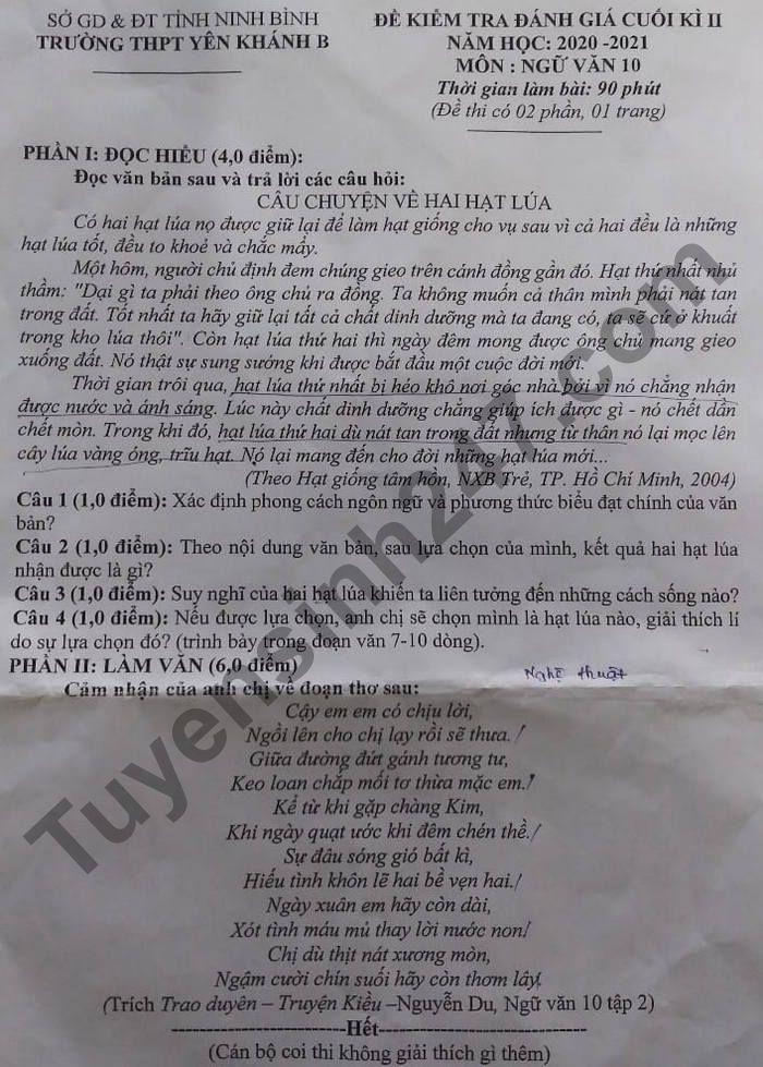 De thi hoc ki 2 mon Van lop 10 - THPT Yen Khanh B nam 2021