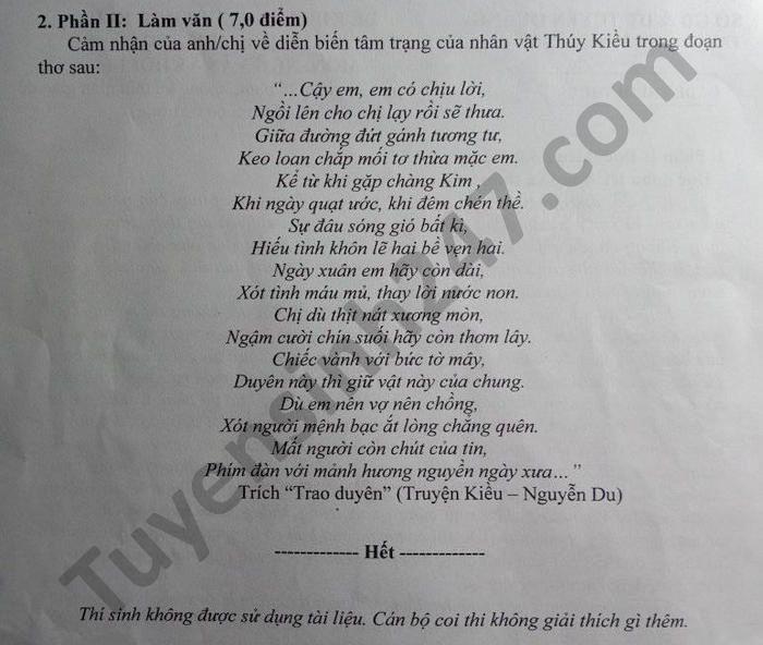 De thi hoc ki 2 nam 2021 THPT ATK Tan Trao mon Van lop 10
