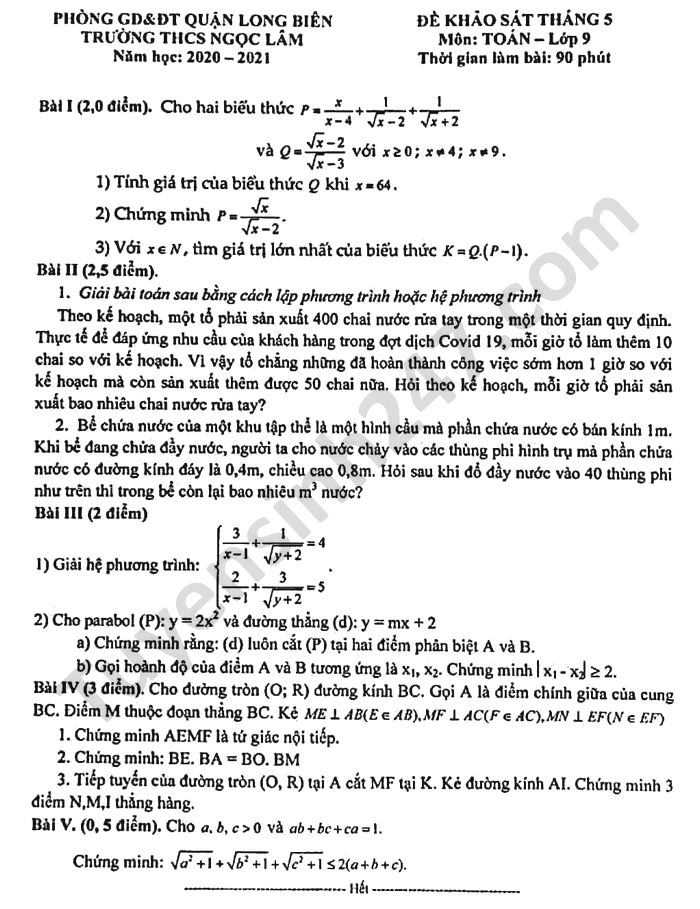 De KSCL thang 5 mon Toan lop 9 THCS Ngoc Lam nam 2021