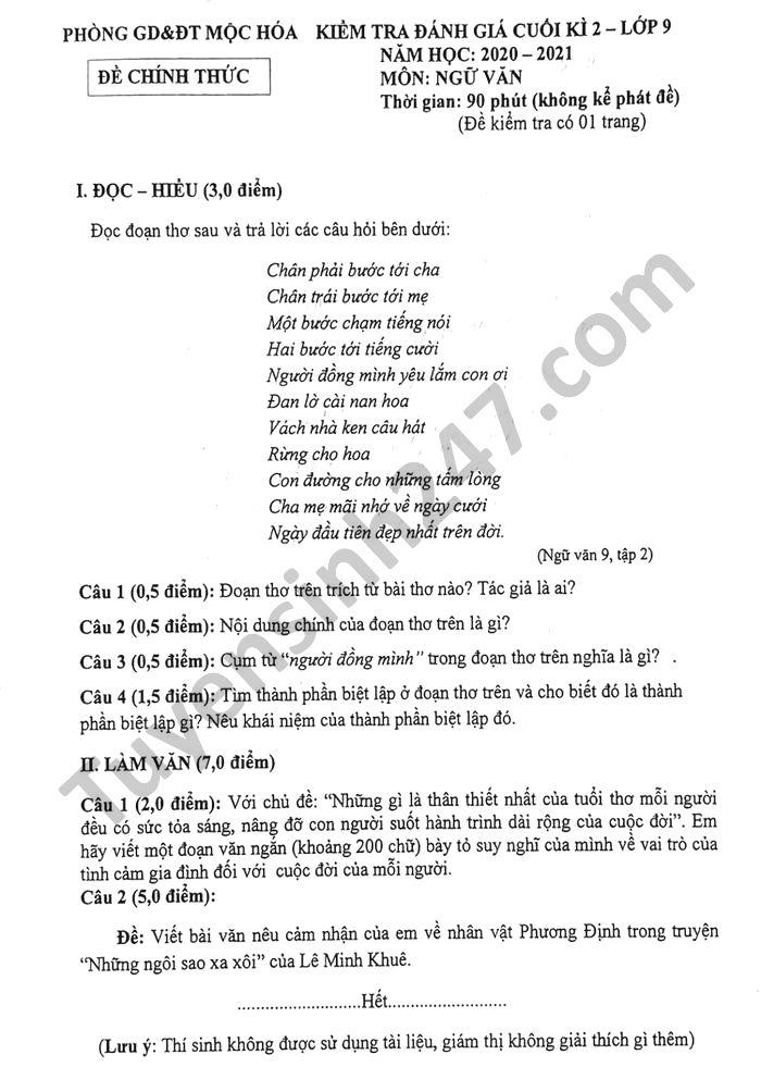 De thi hoc ki 2 mon Van lop 9 Phong GD Moc Hoa nam 2021