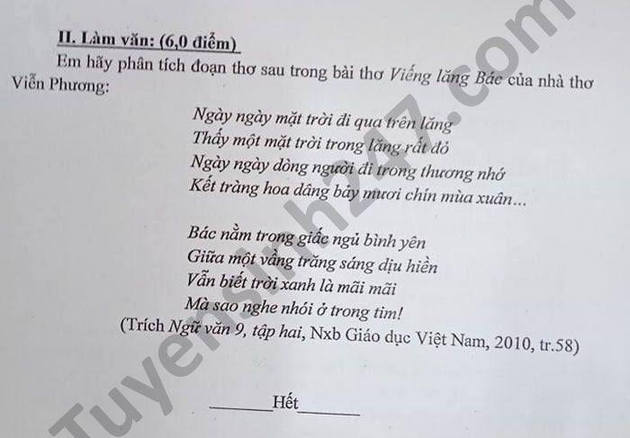 De thi hoc ki 2 mon Van lop 9 Phong GD TP Son La nam 2021