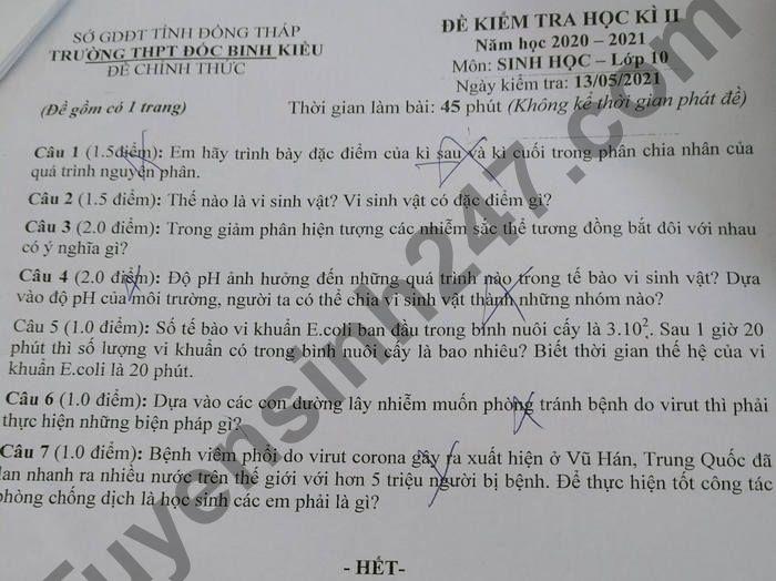 De thi hoc ki 2 mon Sinh lop 10 - THPT Doc Binh Kieu 2021