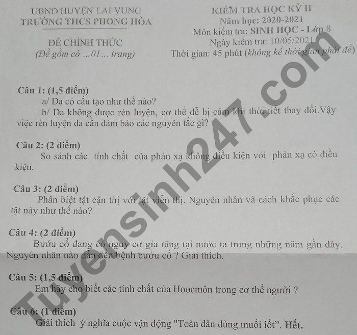 De thi hoc ki 2 nam 2021 THCS Phong Hoa lop 8 mon Sinh