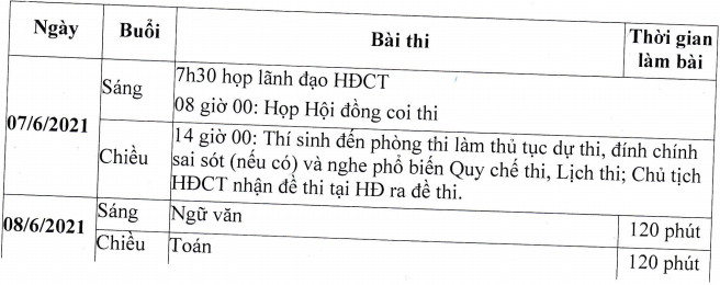 Lich thi vao lop 10 tinh Thai Nguyen nam 2021 - 2022