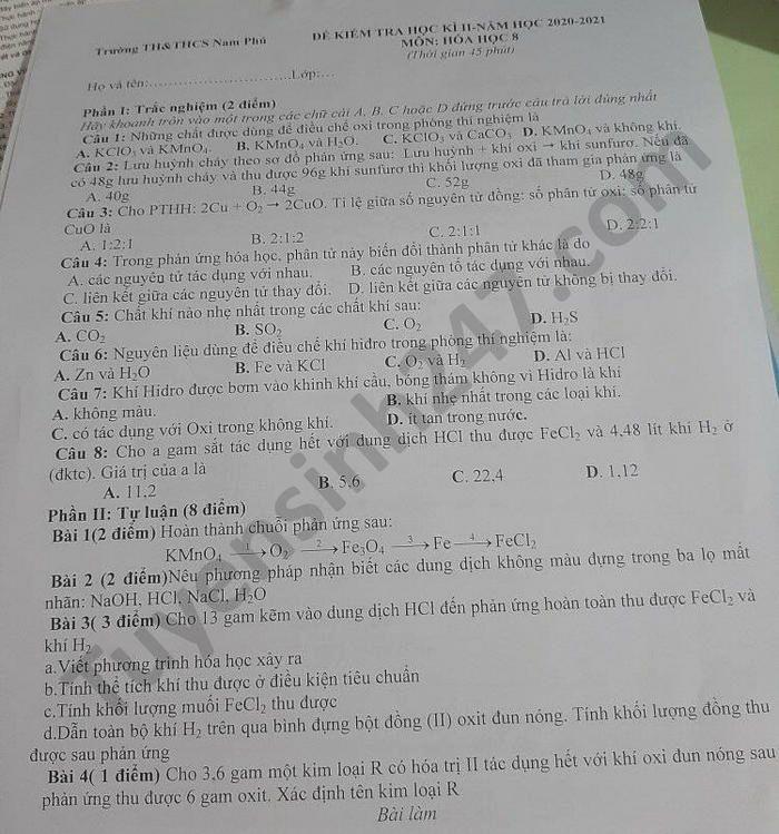 De thi hoc ki 2 mon Hoa lop 8 nam 2021 TH-THCS Nam Phu