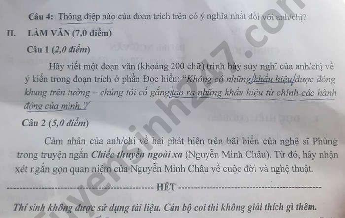 De thi thu tot nghiep THPT nam 2021 tinh Tien Giang mon Van