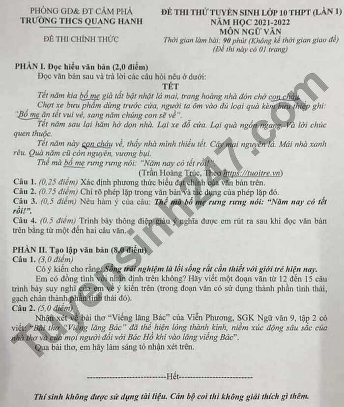 De thi thu vao lop 10 mon Van lan 1 - THCS Quang Hanh 2021 (Co dap an)