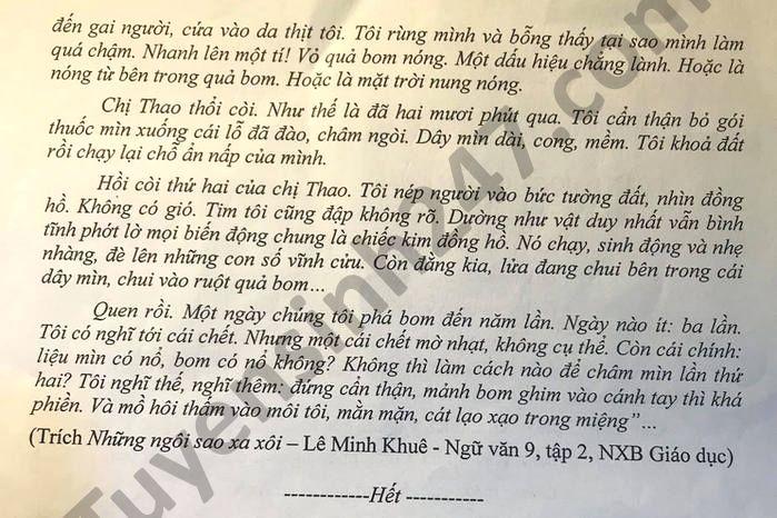 De thi thu vao lop 10 nam 2021 lan 2 mon Van huyen Tu Ky
