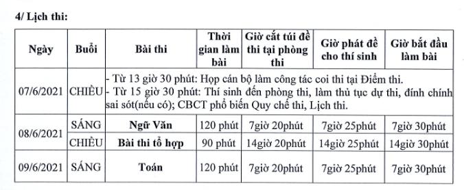 Lich thi vao lop 10 tinh Ninh Binh nam 2021 - Chi tiet