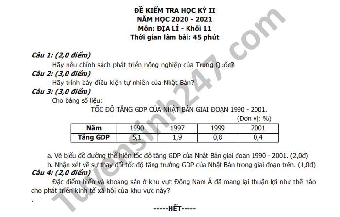 De thi hoc ki 2 THPT Luong Van Can nam 2021 mon Dia lop 11