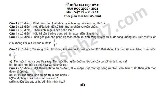 De thi hoc ki 2 nam 2021 THPT Luong Van Can mon Ly lop 11