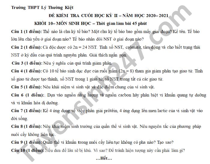 De thi hoc ki 2 mon Sinh lop 10 THPT Ly Thuong Kiet nam 2021