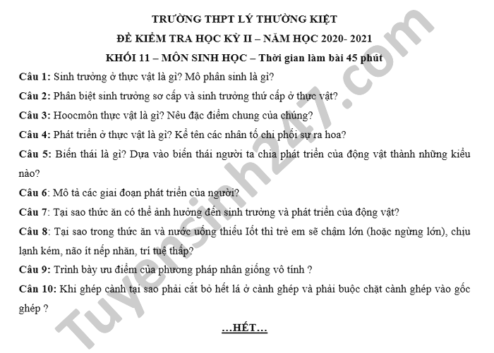 De thi hoc ki 2 nam 2021 mon Sinh lop 11 THPT Ly Thuong Kiet