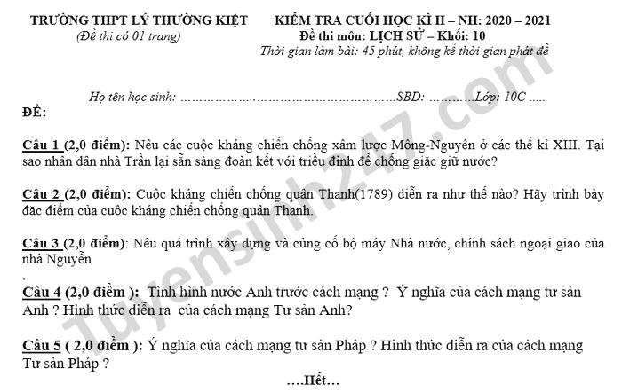 De thi hoc ki 2 THPT Ly Thuong Kiet nam 2021 mon Su lop 10
