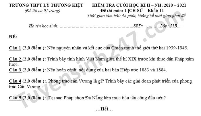 De thi hoc ki 2 nam 2021 mon Su lop 11 THPT Ly Thuong Kiet