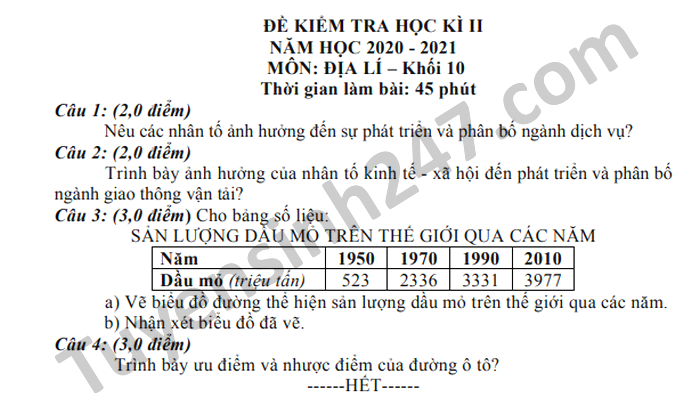 De thi hoc ki 2 nam 2021 THPT Luong Van Can mon Dia lop 10