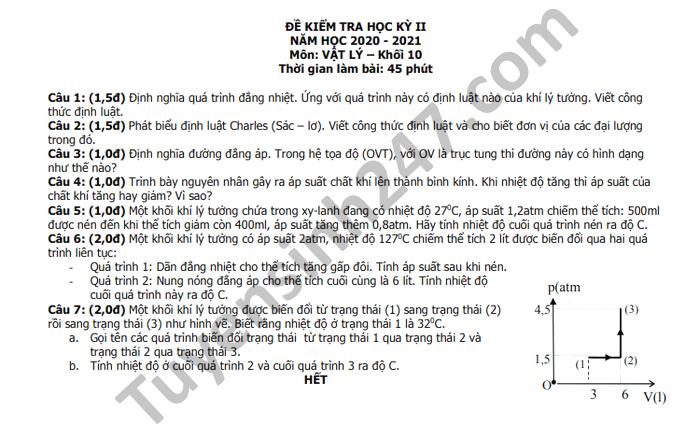 De thi hoc ki 2 THPT Luong Van Can nam 2021 mon Ly lop 10