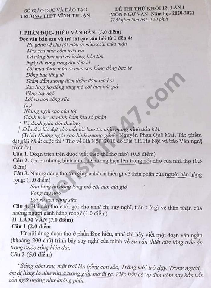 De thi thu tot nghiep THPT nam 2021 mon Van lan 1 THPT Vinh Thuan
