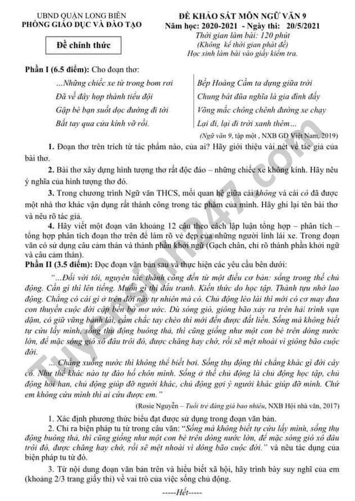 De KSCL lop 9 nam 2021 mon Van Phong GD Quan Long Bien - co dap an