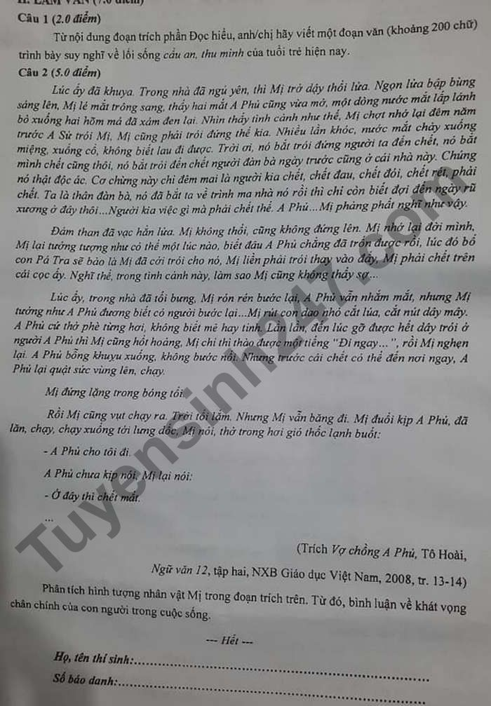 De thi thu tot nghiep THPT 2021 mon Van - Tinh Ca Mau