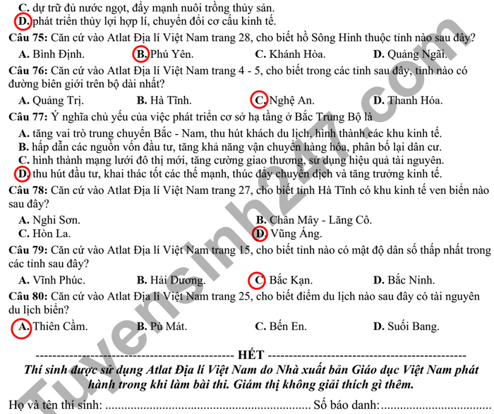 De thi thu tot nghiep THPT 2021 mon Dia - tinh Tien Giang