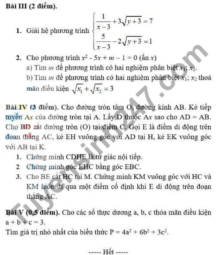 De thi thu vao lop 10 nam 2021 mon Toan - Truong TH,THCS va THPT Thuc nghiem KHGD