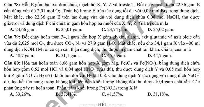De thi thu tot nghiep THPT 2021 tinh Ninh Binh mon Hoa