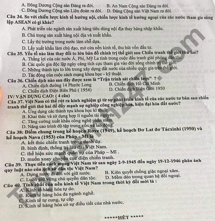 De thi thu tot nghiep THPT 2021 mon Su - THPT so 2 Phu My