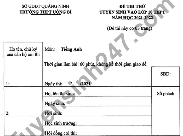De thi thu vao lop 10 mon Anh 2021 THPT Uong Bi lan 2 - Co dap an