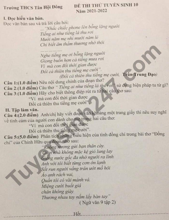De thi thu vao lop 10 mon Van - THCS Tan Hoi Dong 2021