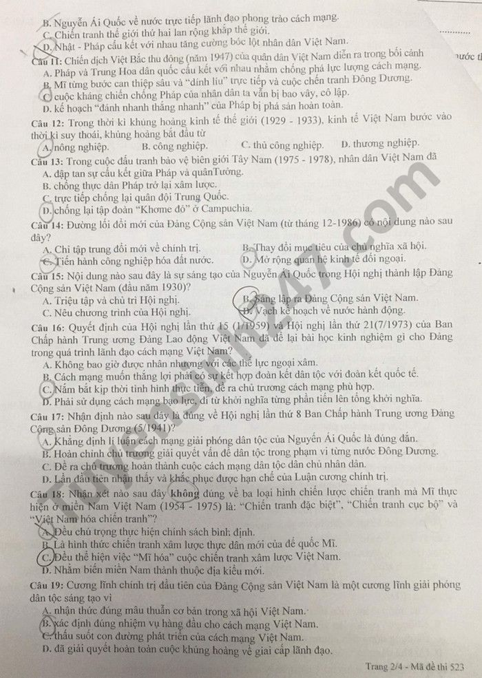 De thi thu tot nghiep THPT 2021 lan 3 mon Su THPT chuyen Lam Son