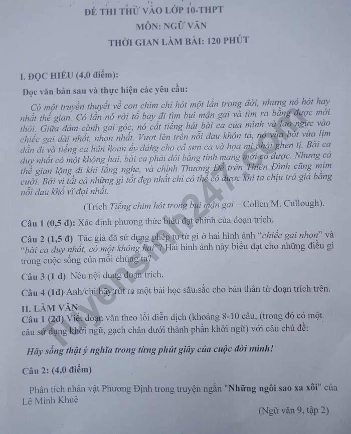 De thi thu vao lop 10 mon Van - THCS Cam Ninh 2021