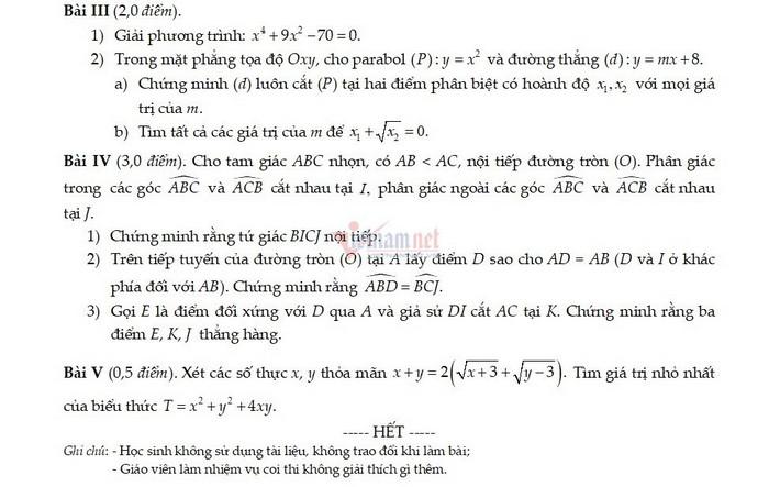 De thi thu vao lop 10 mon Toan - PTLC Hanoi Adeilaide 2021