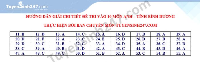 Dap an de thi vao lop 10 mon Anh tinh Binh Duong 2021