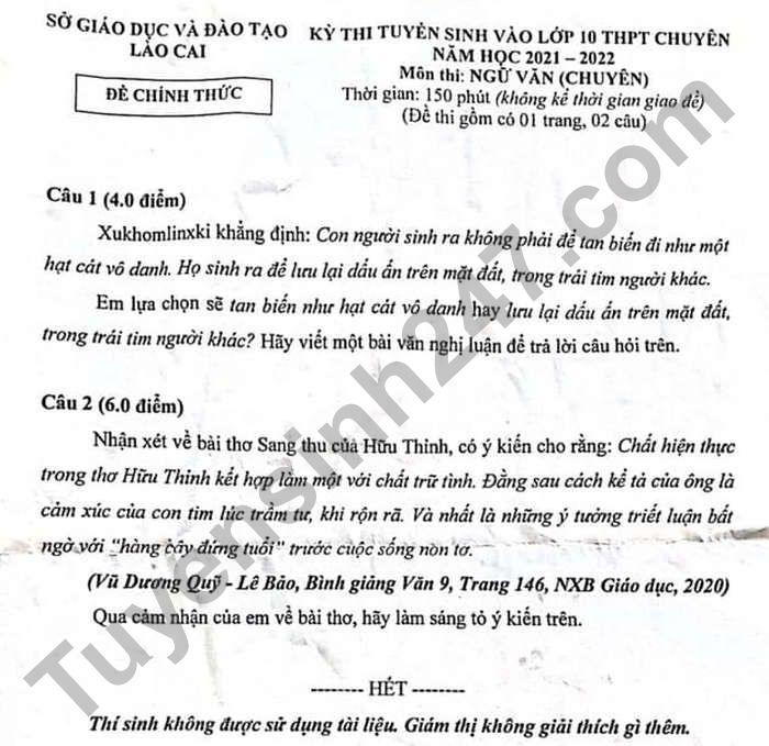 Dap an de thi vao lop 10 mon Van chuyen - Lao Cai nam 2021