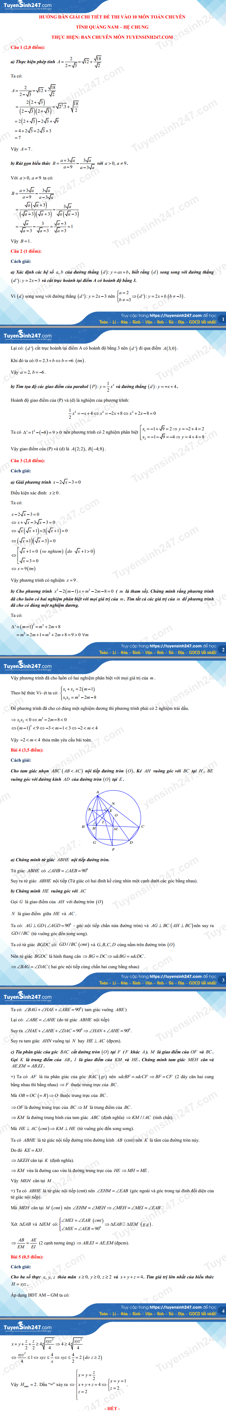 Dap an de thi vao lop 10 THPT chuyen mon Toan - Quang Nam 2021