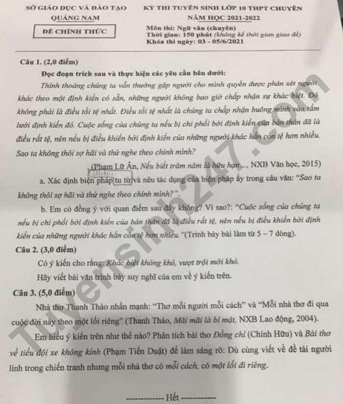 Dap an de thi vao lop 10 tinh Quang Nam mon Van Chuyen 2021